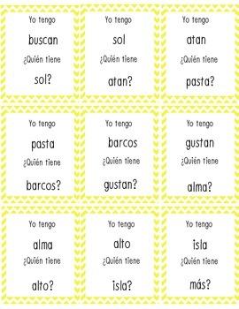 Yo Tengo Quien Tiene Closed Syllables (Silabas Cerrados) L
