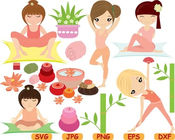 Yoga Fitness Health SVG Cutting files Clip Art exercise ae