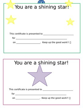 You Are A Shining Star cards