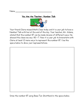 You Are the Teacher: Number Talk