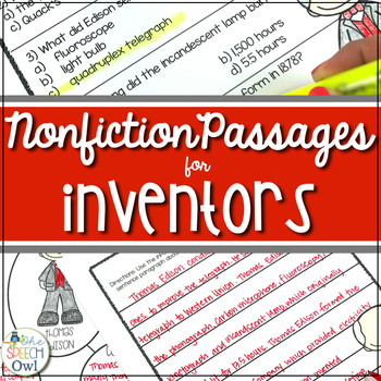 You Invented What? - Non-fiction for Language, Comprehensi