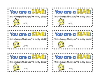 """You are a STAR!"" gift tags"