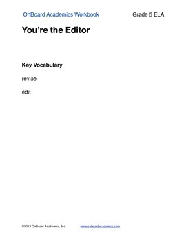 You are the Editor