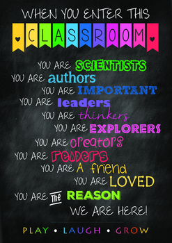 You are the reason - classroom motivational poster