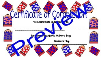 Young Author's Day Certificate