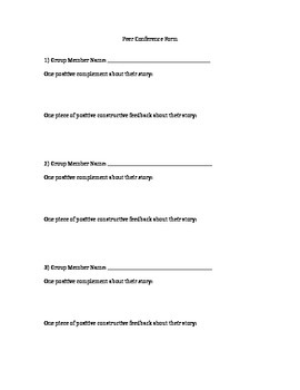 Young Author's Peer Conference Form