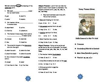 Young Thomas Edison Comprehension Tri-fold: Journeys Grade