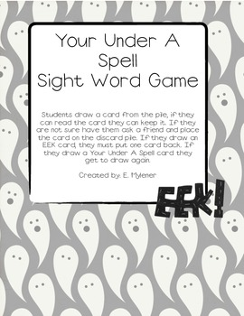Your Under A Spell Sight Word Game