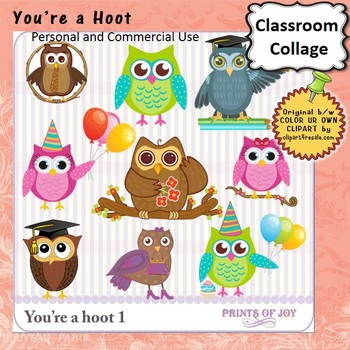 Your a Hoot Clip Art - Color - personal & commercial use