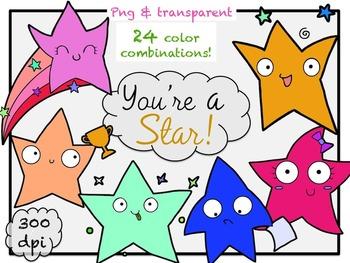 You're A Star - Rainbow Stars Clip Art (line art included)