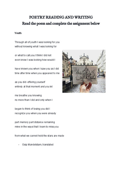Youth poetry assignment based on poem - YOUTH - by Osip Ma