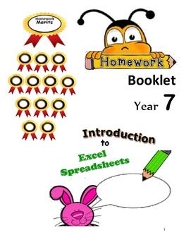FREE-Yr 7  Intro to Spreadsheets Homework Book Grade 7,8,9