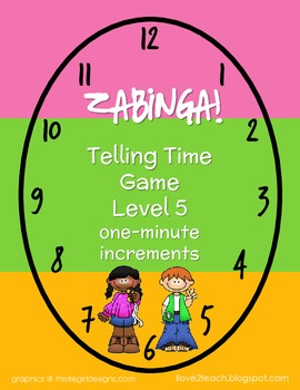 ZABINGA Game Telling Time to 1-Minute Increments Level 5