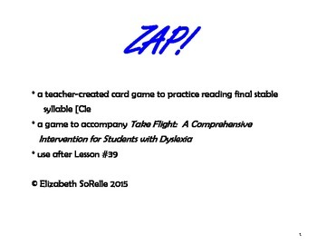 Phonics:  Final stable syllables ZAP!
