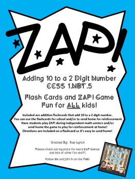 !ZAP! Math Reinforcement Game Adding 10  to a two digit nu