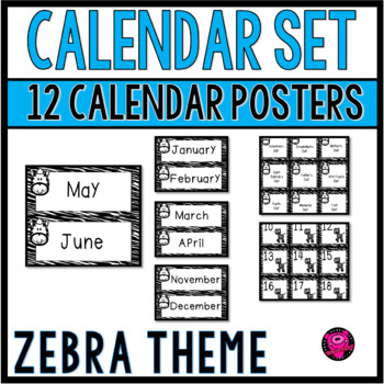 Zebra Theme Complete Calendar Set