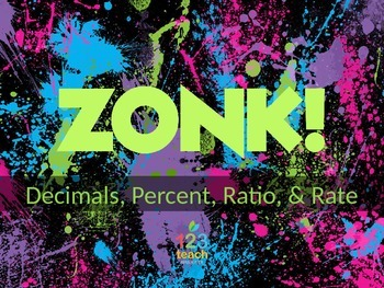 ZONK! Middle School CCSS Math Review Game - Decimals, Perc