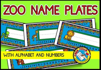 ZOO ANIMALS NAME PLATES WITH ALPHABET AND NUMBERS 1-20