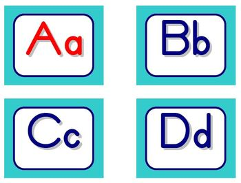 Zaner-Bloser Word Wall Letters - Aqua and Blue