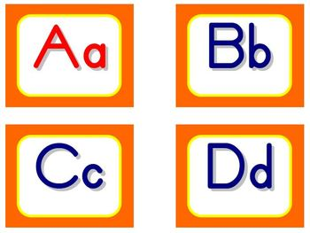 Zaner-Bloser Word Wall Letters - Orange and Yellow