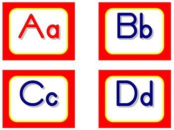 Zaner-Bloser Word Wall Letters - Red and Yellow