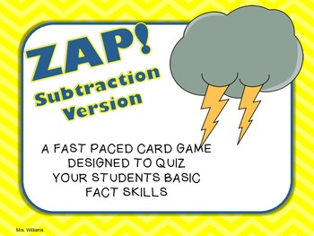 Zap! Subtraction Card Game
