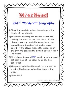 Zap! Word Game: Diagraphs ch, wh, th, sh