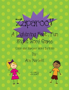 Zaparoo! Sight Word Game...Number and Color Word Edition