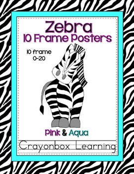 Zebra 10 Frame Posters - Numbers 0-20