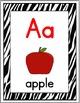 Zebra Theme Alphabet Posters with Primary Font - Alphabet Cards