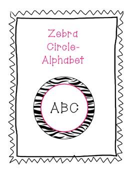 Zebra Background Alphabet in Pink Circles