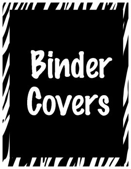 Zebra Binder Covers