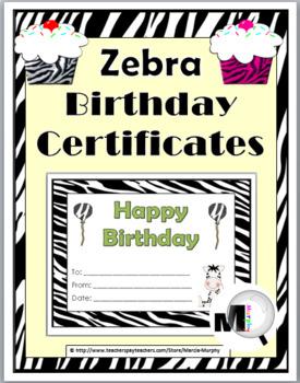 Zebra Theme Birthday Certificates