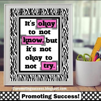 It's Okay to Not Know Quote Poster in Pink & Black Zebra C