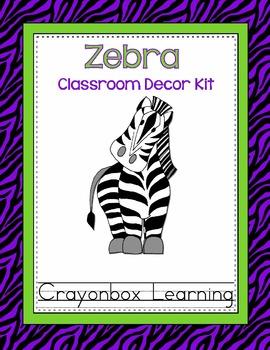 Zebra Classroom Decor kit - Lime and Purple - Editable Files