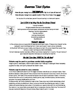 Zebra Classroom PBS Ticket System Student and Parent Letter