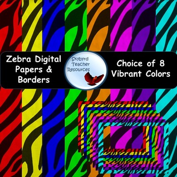 Digital Papers and Matching Transparent Borders Zebra