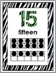 Zebra Theme with Green Numbers 11-20 Number Posters with T
