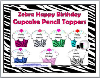 Zebra Theme Happy Birthday Cupcake Pencil Toppers / Badges