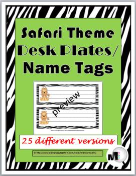 Jungle Theme - Zebra Theme Desk Plates / Name Labels