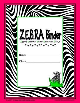 Zebra {Jungle or Safari} Binder Cover