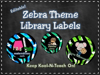 Zebra Library Labels (Editable)