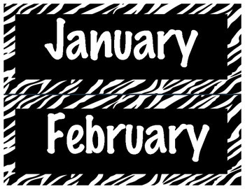Zebra Months of the Year