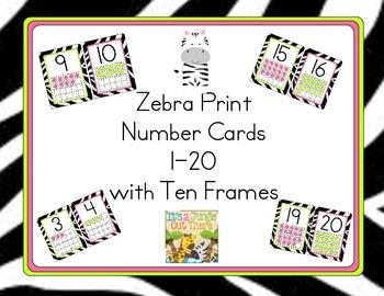 Zebra Number Cards1-20 with Ten Frames
