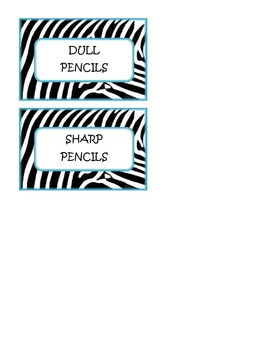 Zebra Pencil Can Tags (Teal)