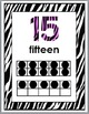 Zebra Theme with Pink Numbers 11-20 Number Posters with Te