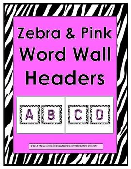 Zebra Theme with Pink Alphabet Word Wall Headers - Alphabet Cards