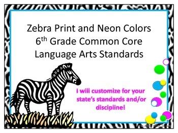 Zebra Print 6th Grade Common Core ELA Standards Neon Pink