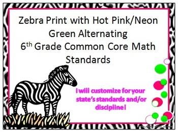 Zebra Print 6th Grade Common Core Math Standards w/ Lime G