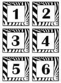 Zebra Print Bin #'s Calendar, Months & Days, Clock Minutes